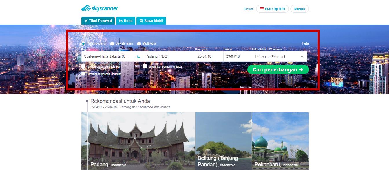 Pemesanan tiket dari Jakarta menuju Padang Sumatera Barat