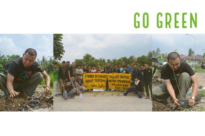 Melakukan penanaman pohon di DAS (Daerah Aliran Sungai) dan sebagai bentuk kepedulian terhadap lingkungan
