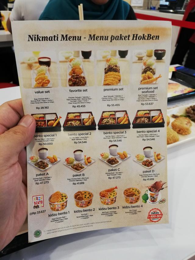 menu paket hokben