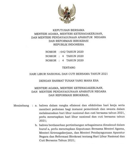 SKB Hari Libur Nasional dan Cuti Bersama 2021